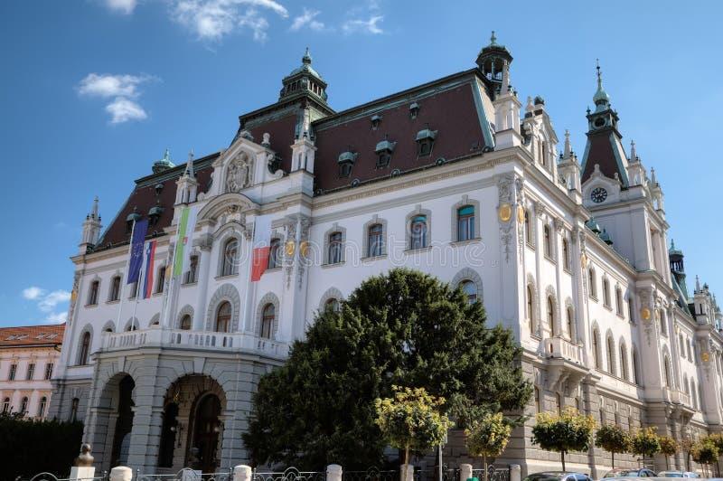 Het hoofdgebouw van de Universiteit van Ljubljana royalty-vrije stock foto