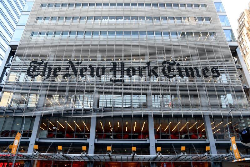 HET HET HOOFDKANTOORgebouw VAN NEW YORK TIMES stock fotografie