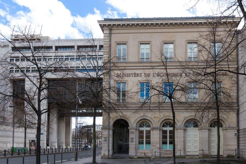 Het hoofdkwartier van het Franse Ministerie van Financiën en Economie wordt gevestigd in de Bercy-buurt in 12de arrondissement va stock afbeelding