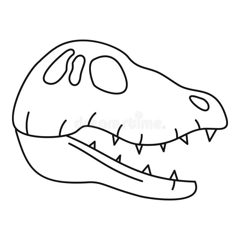 Het hoofdpictogram van de dinosaurusschedel, overzichtsstijl vector illustratie