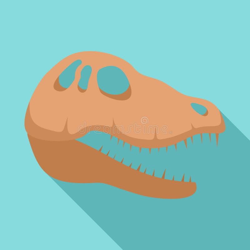 Het hoofdpictogram van de dinosaurusschedel, vlakke stijl vector illustratie