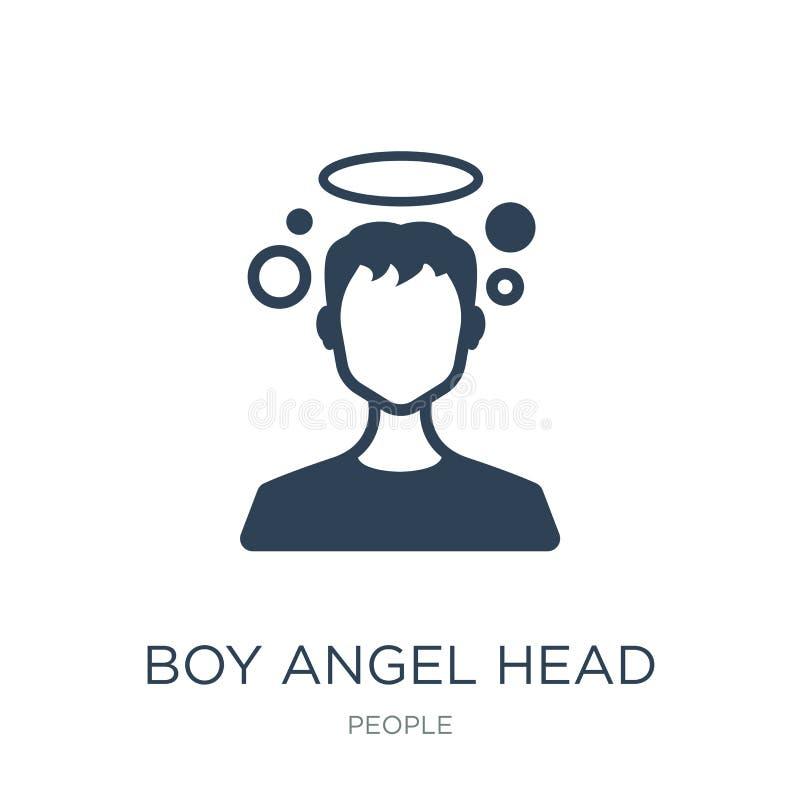 het hoofdpictogram van de jongensengel in in ontwerpstijl het hoofddiepictogram van de jongensengel op witte achtergrond wordt ge royalty-vrije illustratie