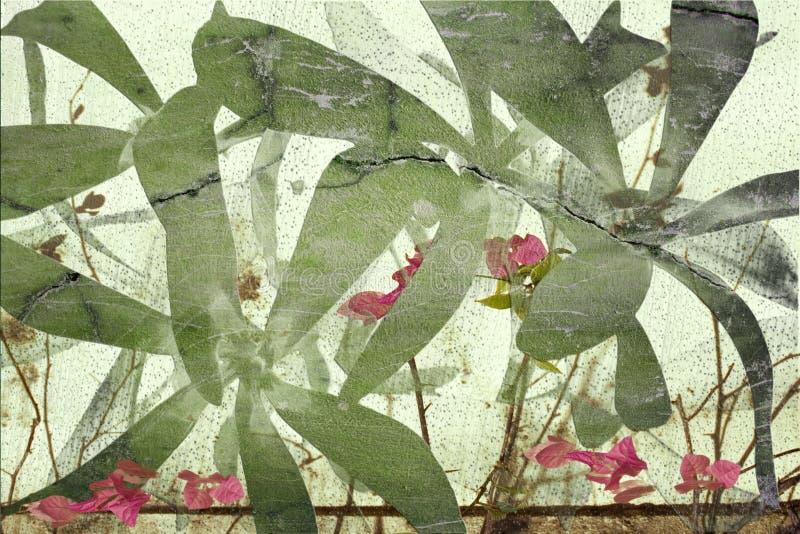Het hoogst geweven grunge gebarsten af:drukken van de bloemkunst stock foto