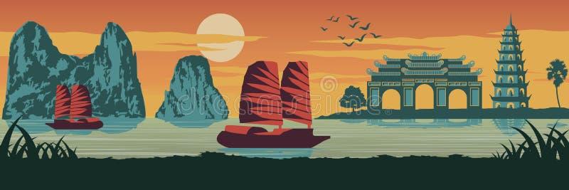 Het hoogste beroemde oriëntatiepunt van Vietnam, Schip, Ha snakt baai, Keizerpaleis c stock illustratie