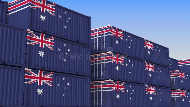 Het hoogtepunt van de containeryard van containers met vlag van Australië De Australische uitvoer of de invoer bracht het 3D teru stock illustratie