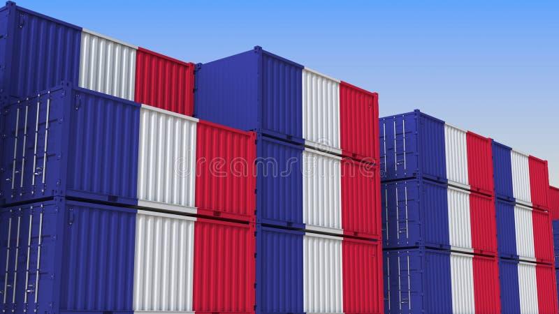 Het hoogtepunt van de containeryard van containers met vlag van Frankrijk De Franse uitvoer of de invoer bracht het 3D teruggeven royalty-vrije illustratie