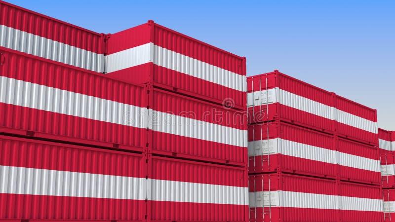 Het hoogtepunt van de containeryard van containers met vlag van Oostenrijk De Oostenrijkse uitvoer of de invoer bracht het 3D ter vector illustratie