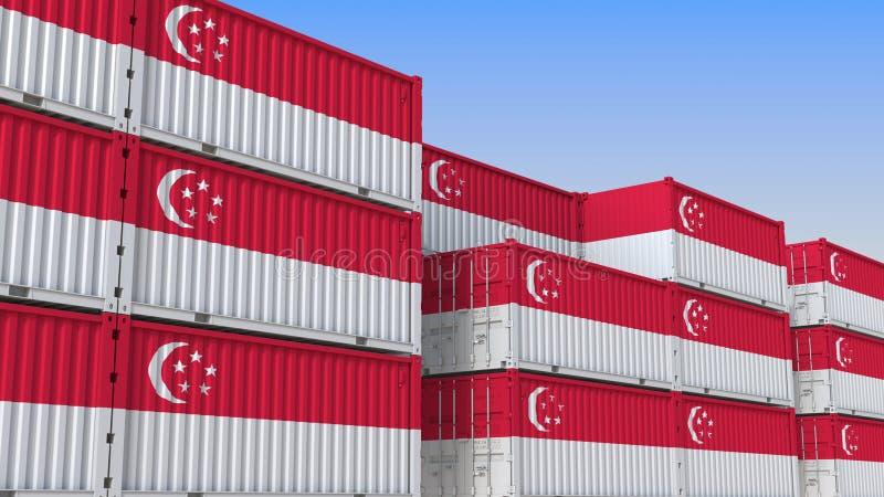 Het hoogtepunt van de containeryard van containers met vlag van Singapore Singaporean uitvoer of de invoer bracht het 3D teruggev royalty-vrije illustratie