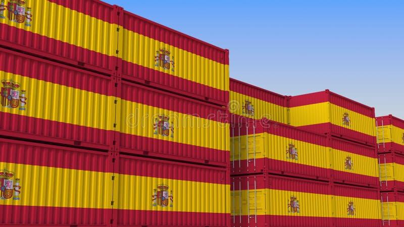 Het hoogtepunt van de containeryard van containers met vlag van Spanje De Spaanse uitvoer of de invoer bracht het 3D teruggeven m stock illustratie