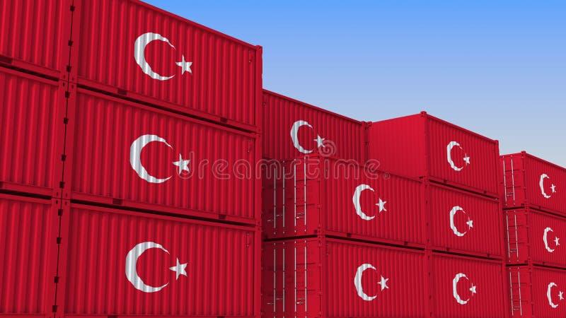 Het hoogtepunt van de containeryard van containers met vlag van Turkije De Turkse uitvoer of de invoer bracht het 3D teruggeven m stock illustratie