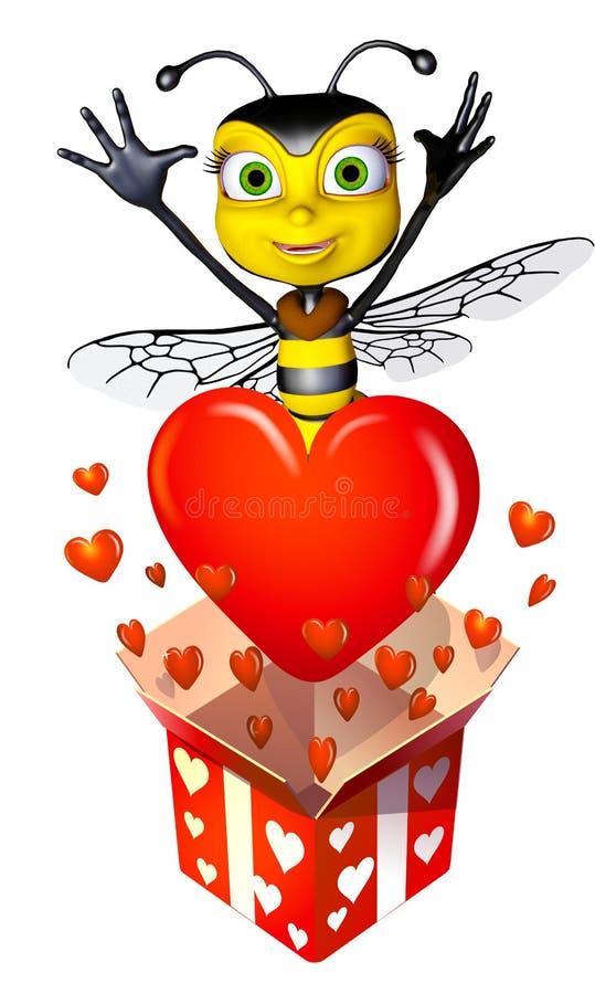 Het hoogtepunt van de de bijendoos van de honing van harten vector illustratie