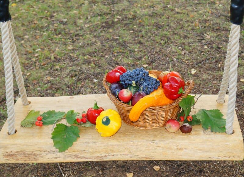 Het hoogtepunt van de de herfstmand van vruchten en groenten stock afbeeldingen