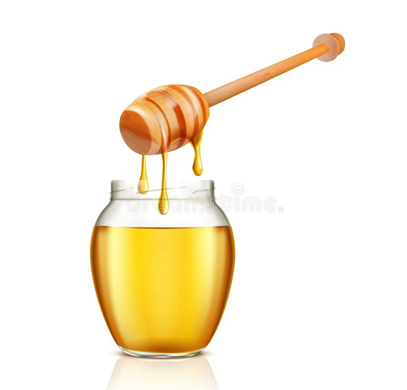 Het hoogtepunt van de glaskruik van honing en dipper stock illustratie