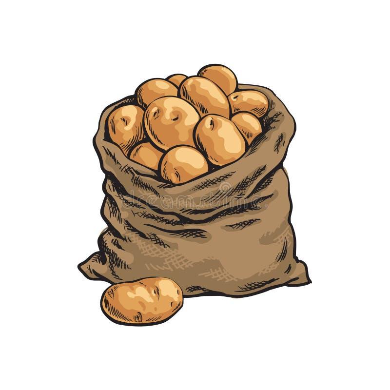 Het hoogtepunt van de jutezak van rijpe aardappel, getrokken hand vector illustratie