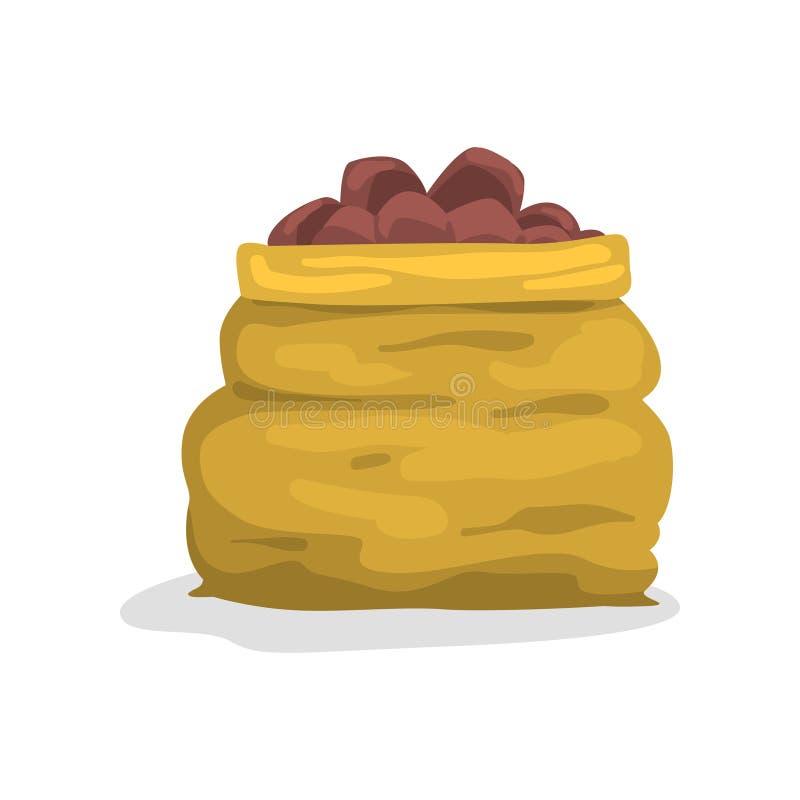 Het hoogtepunt van de jutezak van rijpe aardappel vectorillustratie op een witte achtergrond vector illustratie