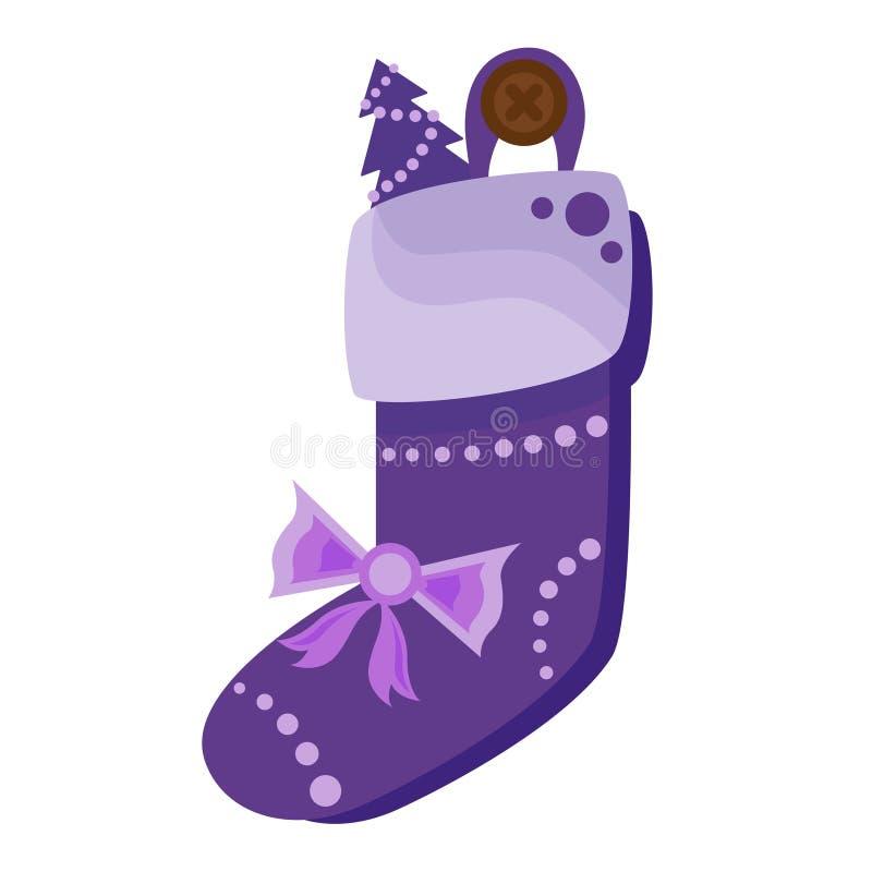 Het hoogtepunt van de Kerstmissok van suikergoed, koekjes en giften, op een witte achtergrond worden geïsoleerd die Vector illust royalty-vrije illustratie