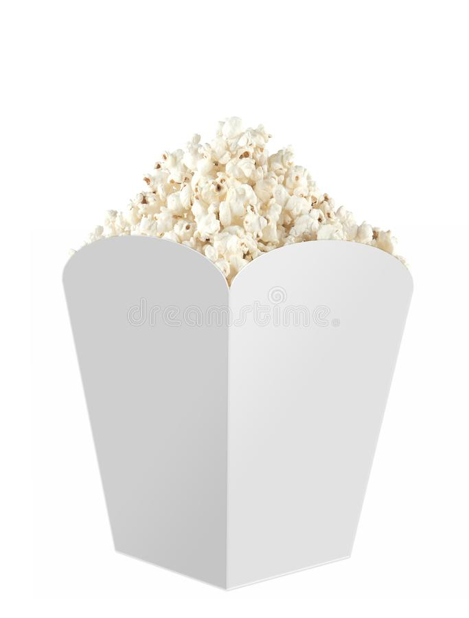 Het hoogtepunt van de popcorndoos met popcorn omhoog spot Witte, duidelijke, lege, geïsoleerde Popcorndoos op witte achtergrond,  royalty-vrije stock afbeelding