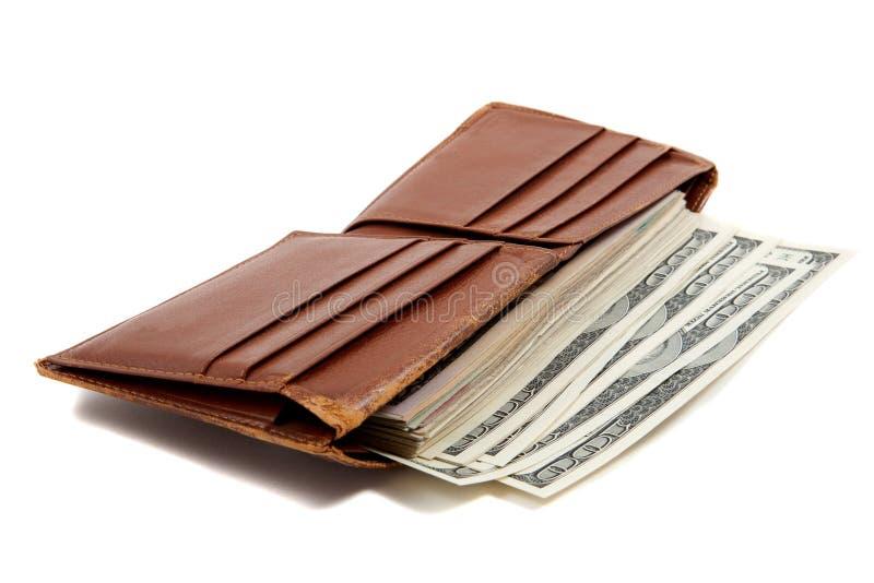 Het hoogtepunt van de portefeuille van geld royalty-vrije stock afbeeldingen