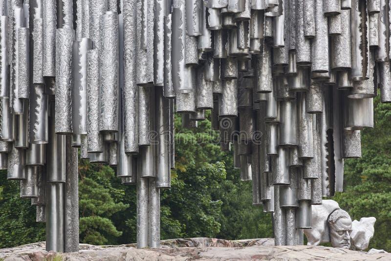 Het hoogtepunt van het de stadstoerisme van Helsinki Het Monument van Sibelius Metaalpit stock fotografie