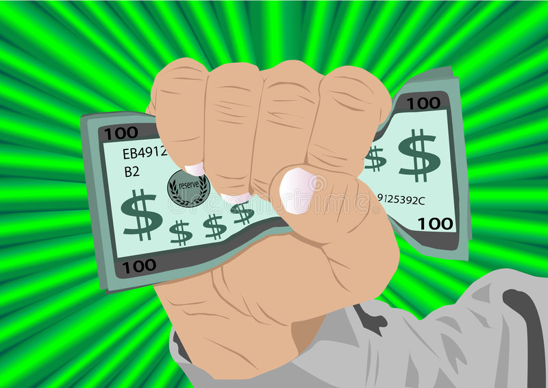 Het hoogtepunt van de vuist van contant geld royalty-vrije illustratie