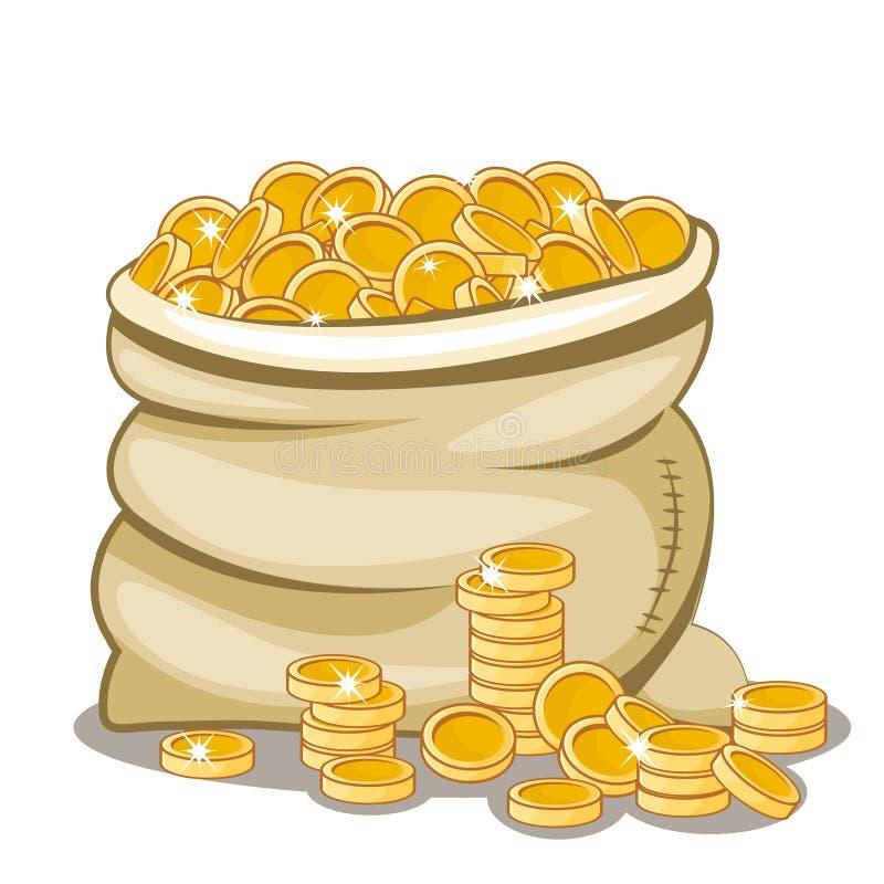 Het hoogtepunt van de zak van gouden muntstuk stock illustratie