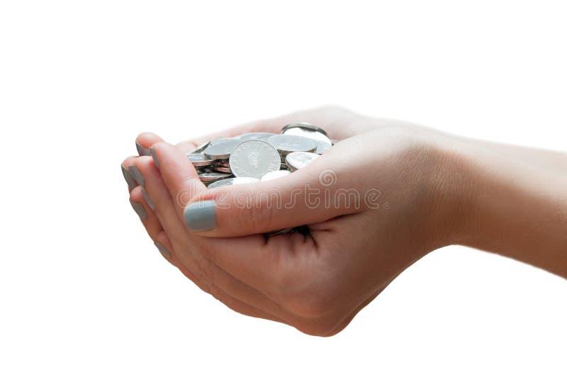 Het hoogtepunt van handen van geld stock foto