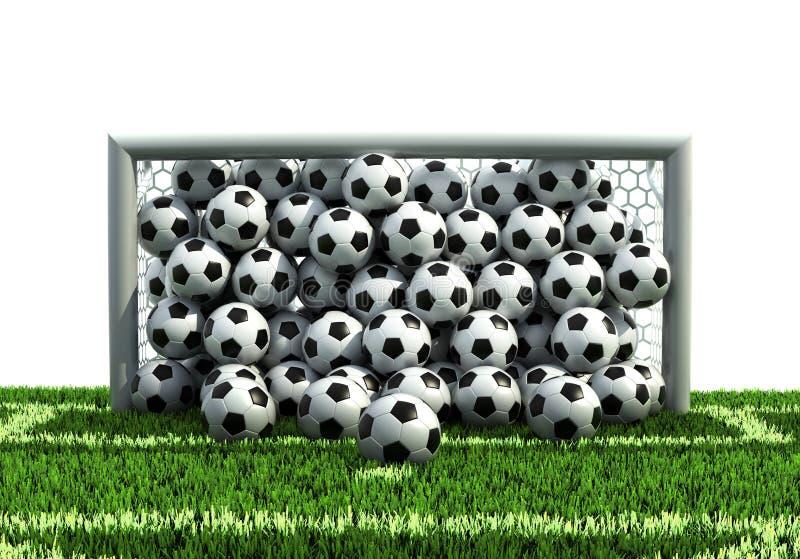 Het hoogtepunt van het doel van ballen op het voetbalgebied royalty-vrije illustratie