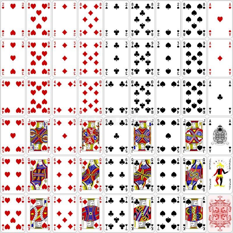 Het hoogtepunt van pookkaarten plaatste kleur vier klassiek ontwerp stock afbeelding