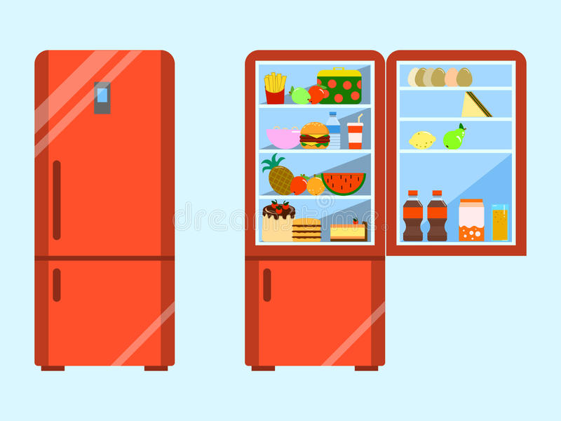 Het hoogtepunt van voedsel opende en sluit ijskast Koelkast en fruit, diepvriezer en groente Vlakke ontwerpvector royalty-vrije illustratie