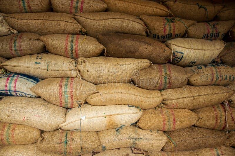 Het Hoogtepunt van zakken van Koffie stock fotografie