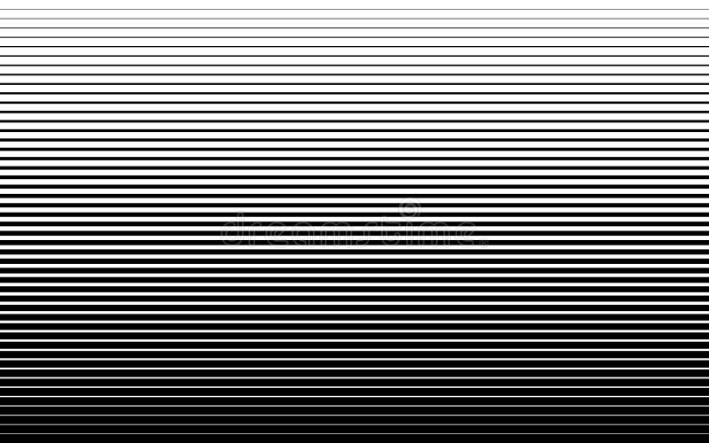 Het horizontale halftone te verdunnen patroon van de snelheidslijn dik Vector illustratie stock illustratie