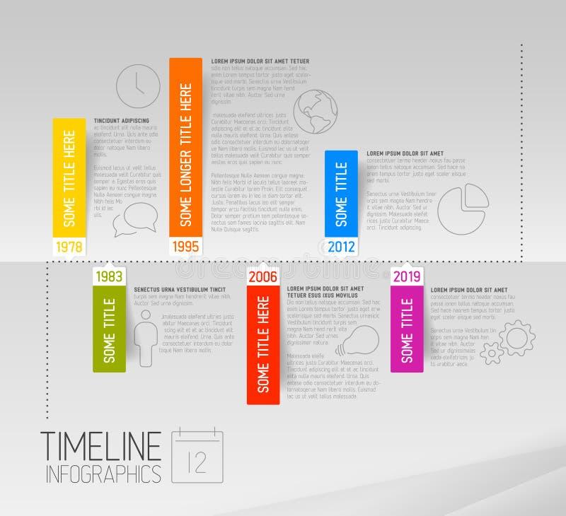 Het horizontale Infographic-malplaatje van het chronologierapport met rond gemaakte etiketten vector illustratie