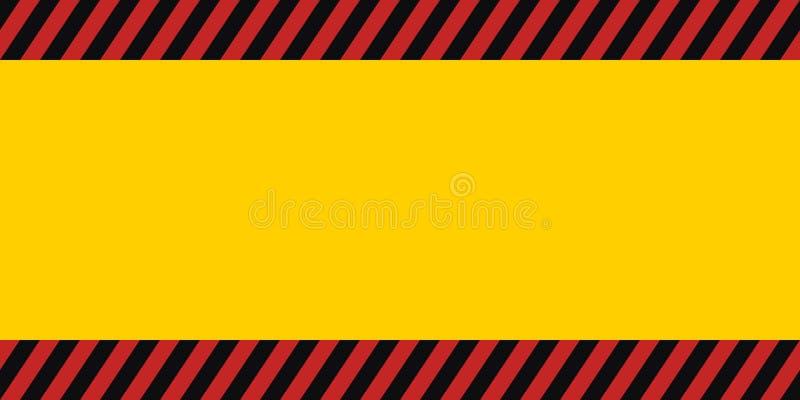 Het horizontale kader van de waarschuwingsbanner, rode gele zwarte, diagonale strepen, de vector van het het behanggevaar van de  stock illustratie