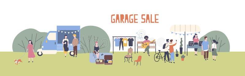 Het horizontale malplaatje van de Webbanner voor garage sale of openluchtfestival met voedselbestelwagen, mannen en vrouwen die e vector illustratie