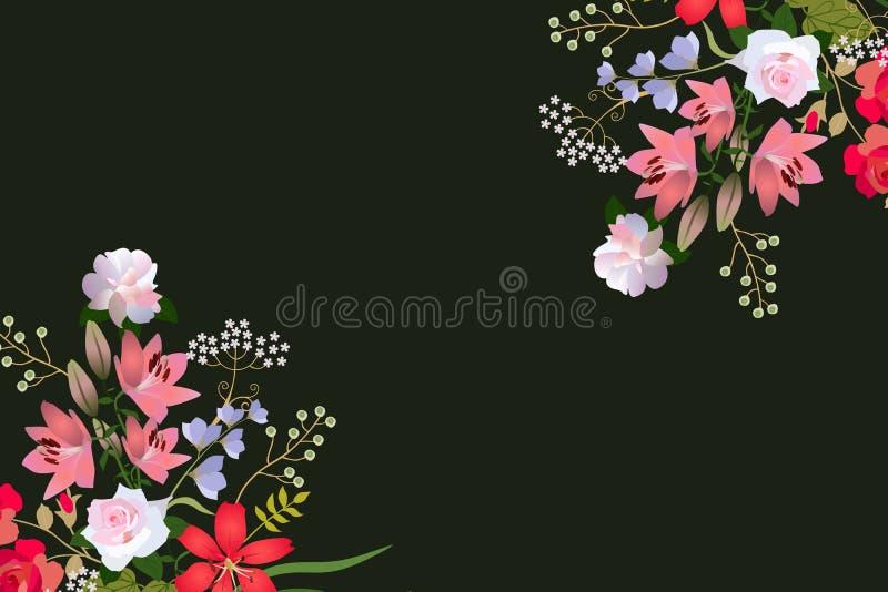 Het horizontale malplaatje voor groet of uitnodigingskaart met twee luxeboeketten van tuinbloemen isoleerde op zwarte achtergrond vector illustratie