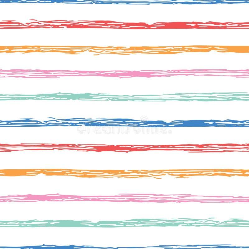 Het horizontale naadloze gestreepte patroon van de grungeborstel Kleurrijke strepen op witte achtergrond Naadloos patroon met kle vector illustratie