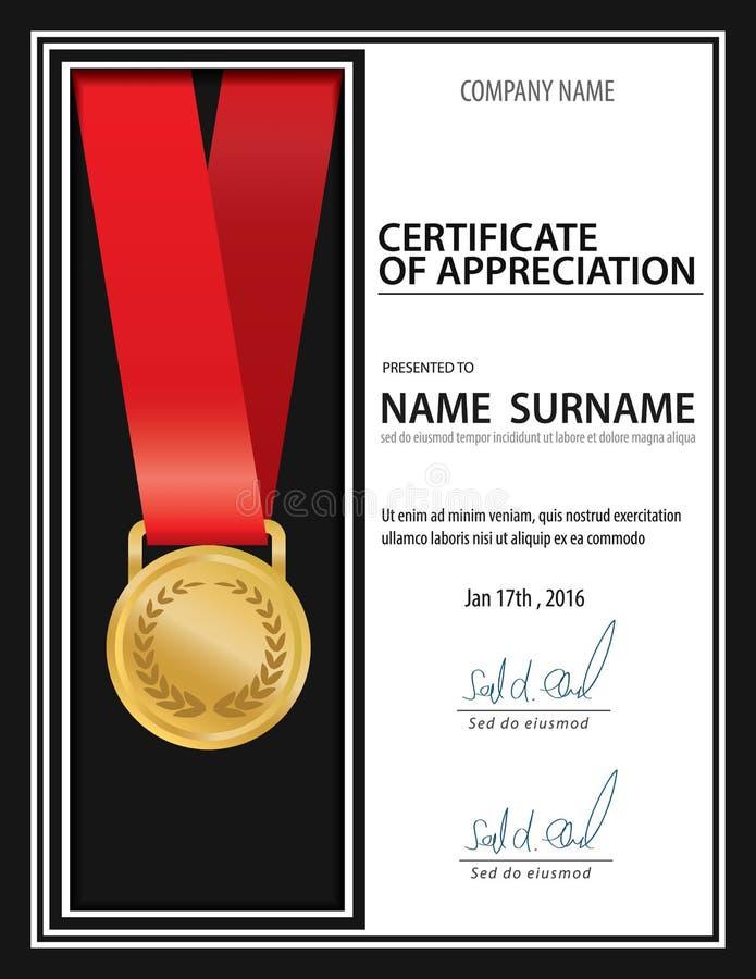Het horizontale uitstekende certificaatmalplaatje, diploma, Brievengrootte, legt stock illustratie