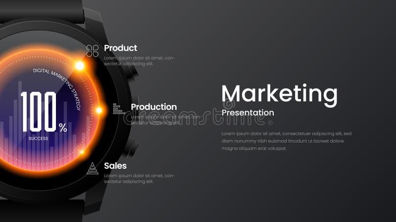 Het horizontale websitescherm voor ontvankelijk Webontwerp Slimme horlogespot op bannerlay-out Op de markt brengende landingspagi royalty-vrije illustratie