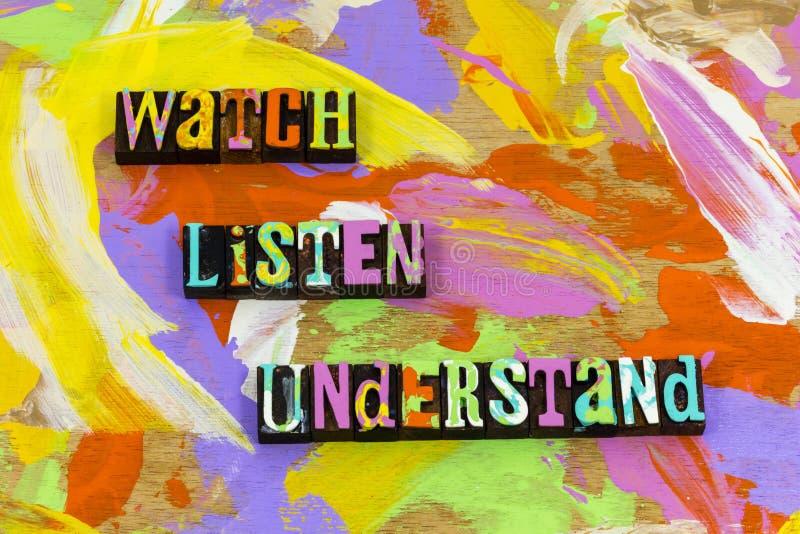 Het horloge luistert begrijpt leren kennis opleidingslood onderwijs stock afbeelding