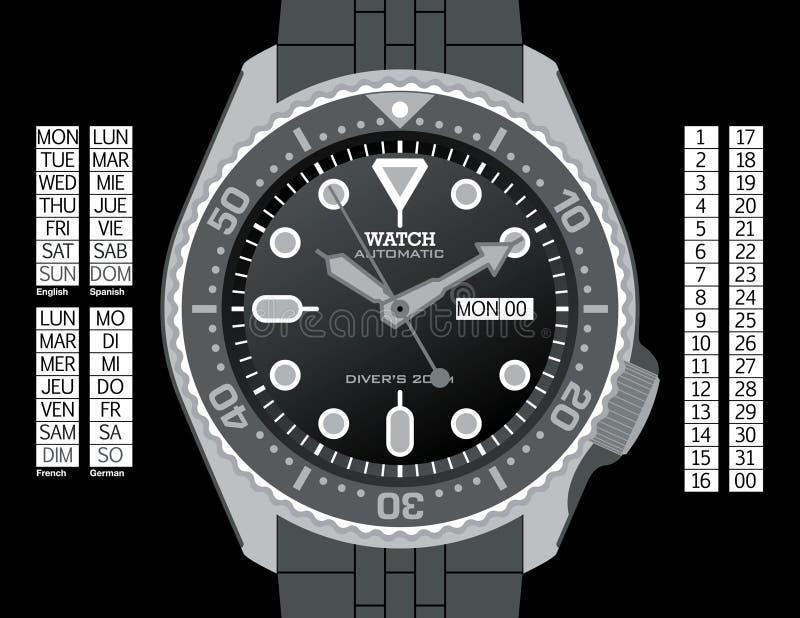 Het Horloge van de duiker - Grayscale royalty-vrije illustratie