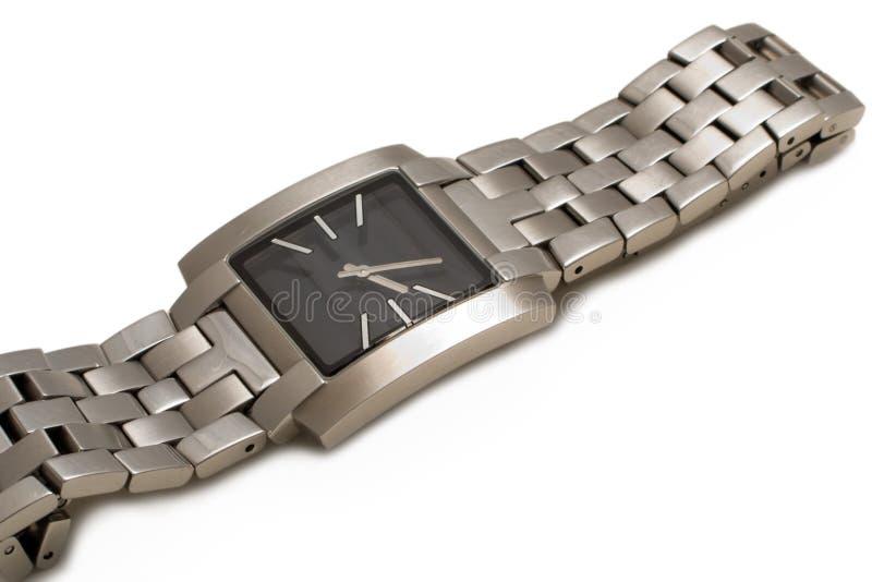 Het horlogeklok van de tijd die op wit bedrijfsbeeld wordt geïsoleerdj stock afbeeldingen