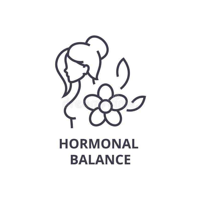 Het hormonale pictogram van de saldo dunne lijn, teken, symbool, illustation, lineair concept, vector royalty-vrije illustratie
