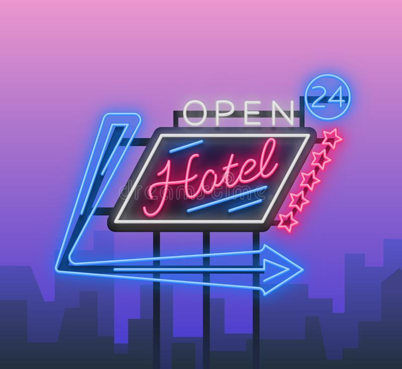 Het hotel is een neonteken Vector illustratie Retro uithangbord, aanplakbord die op het hotel wijzen, nightlight helder neon vector illustratie