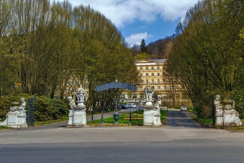 Het hotel Richmond, Karlovy varieert, Tsjechische republiek stock afbeelding