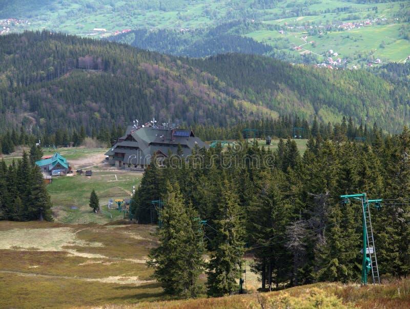 Het hotel van de berg stock afbeeldingen
