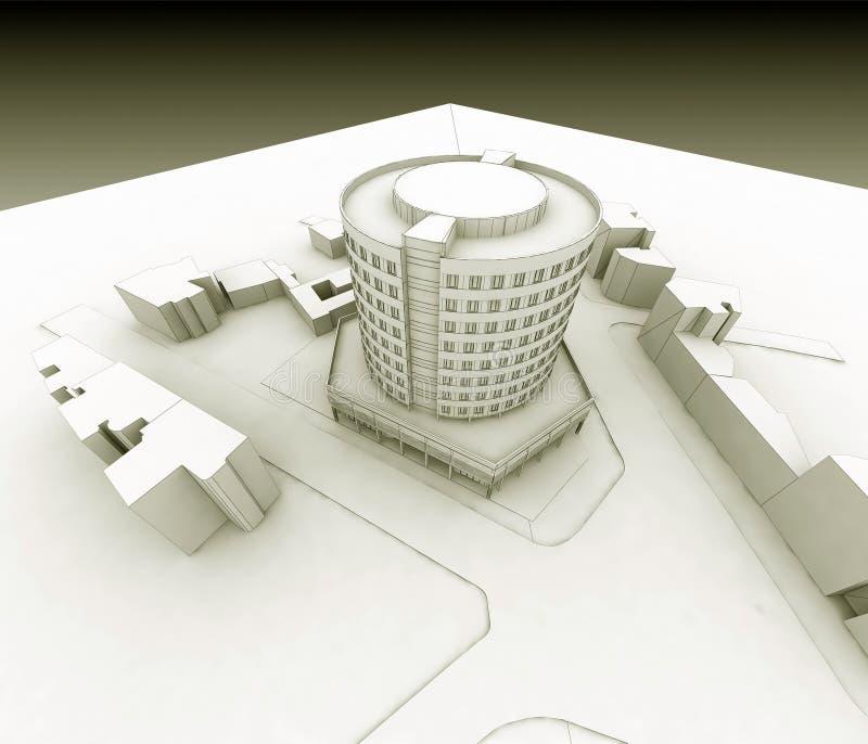 Het hotel van Wireframe vector illustratie