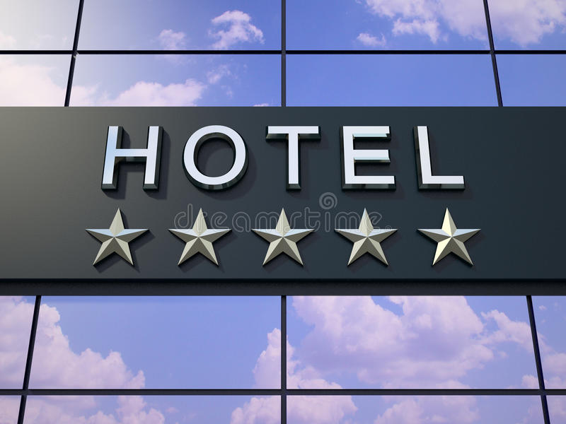 Het hotelteken met vijf sterren stock illustratie