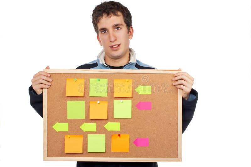 Het houden van corkboard met nota's stock afbeeldingen