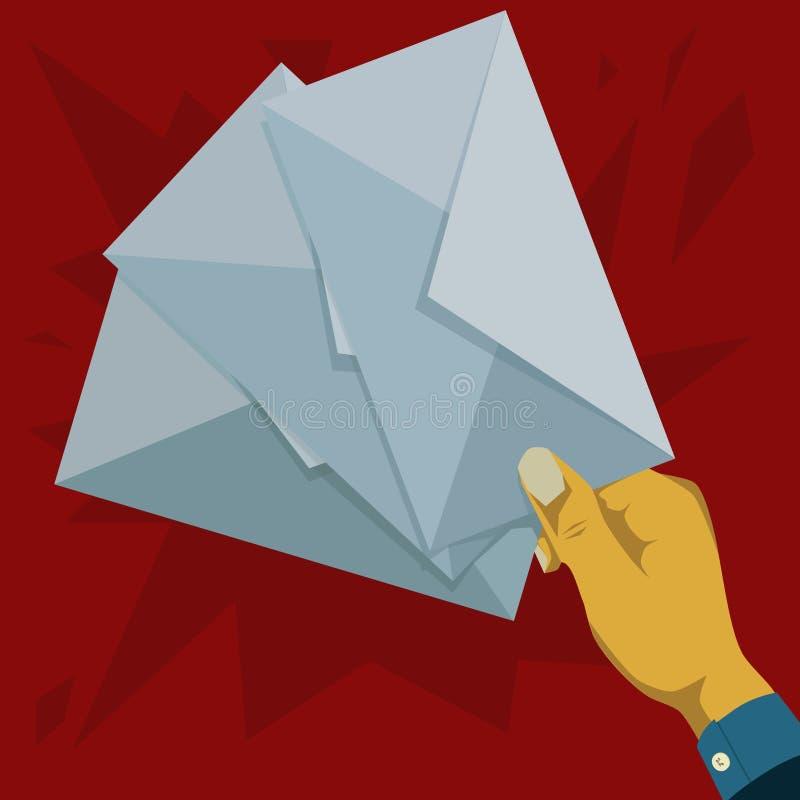Het houden van de drie stukken enveloppen stock foto