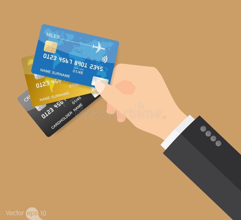 Het houden van drie creditcards vector illustratie